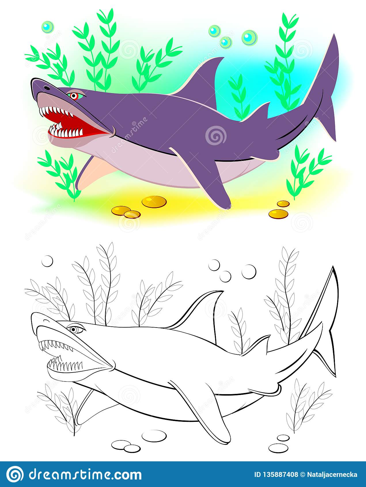 Fantasy Illustration Of Cute Shark Colorful And Black And