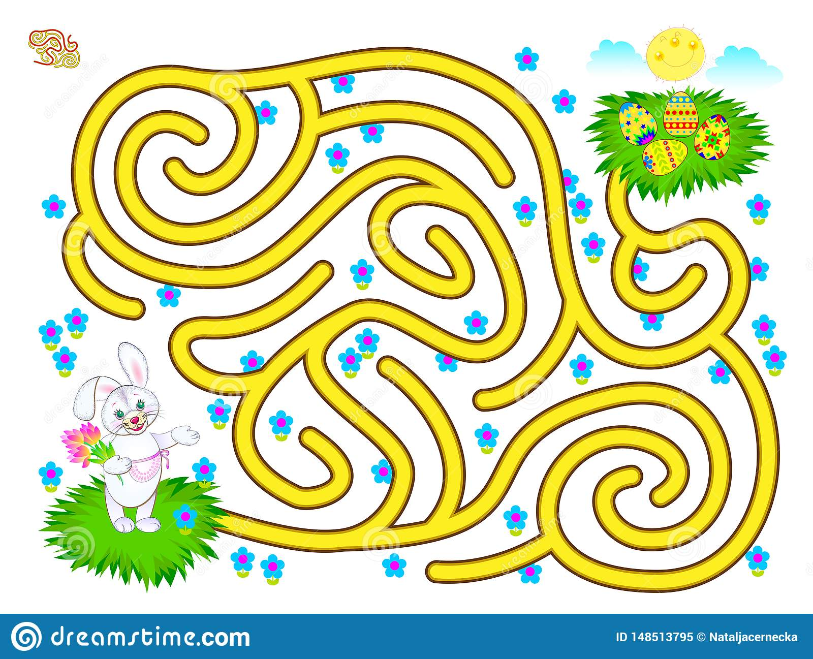 Logic Puzzle Game With Labyrinth For Children Help The