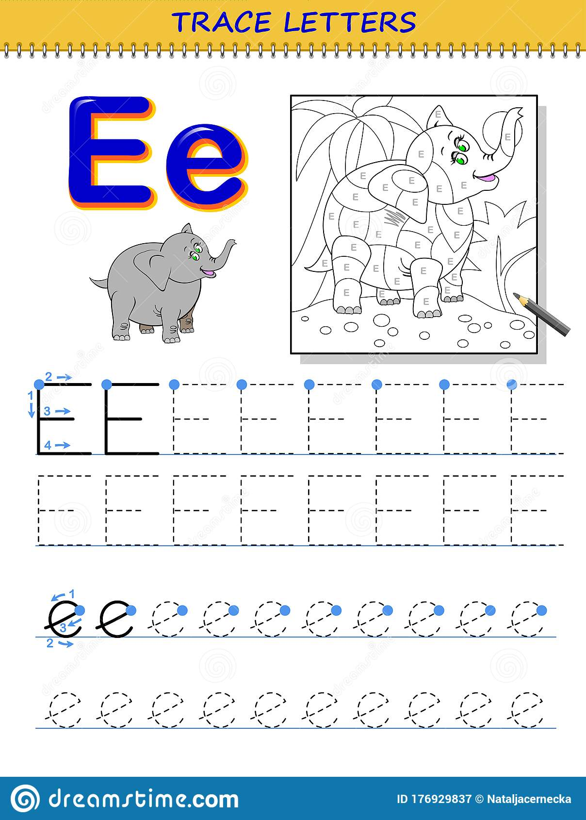 Tracing Letter E For Study Alphabet Printable Worksheet