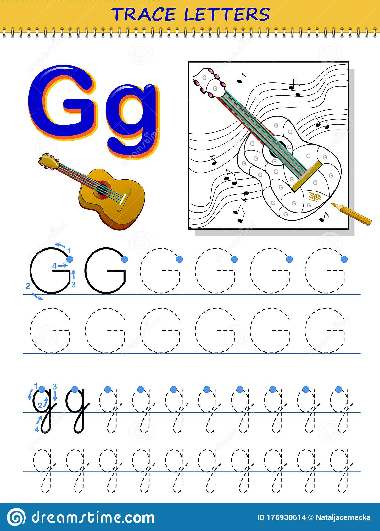 Tracing Letter G For Study Alphabet Printable Worksheet
