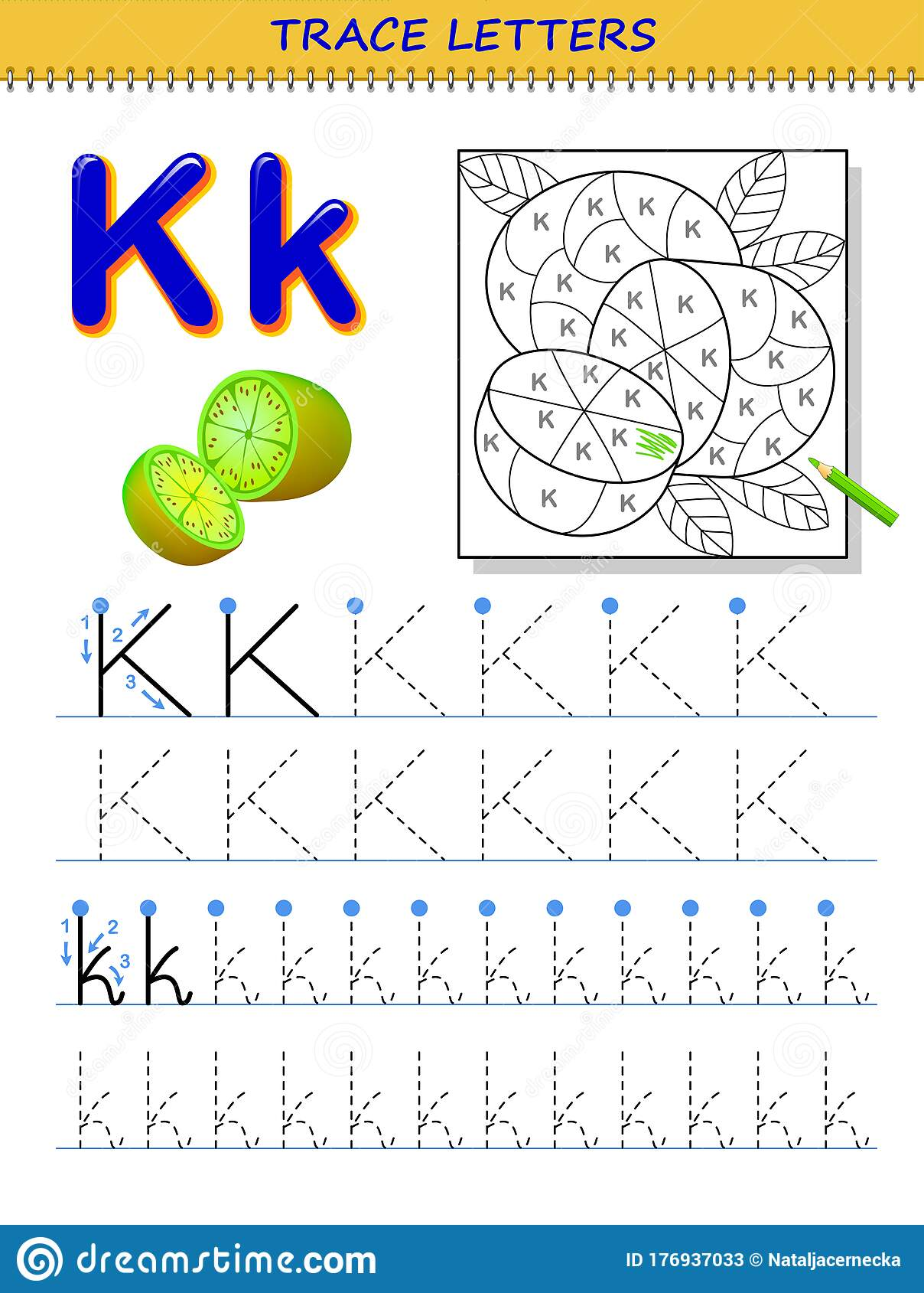 Tracing Letter K For Study Alphabet Printable Worksheet