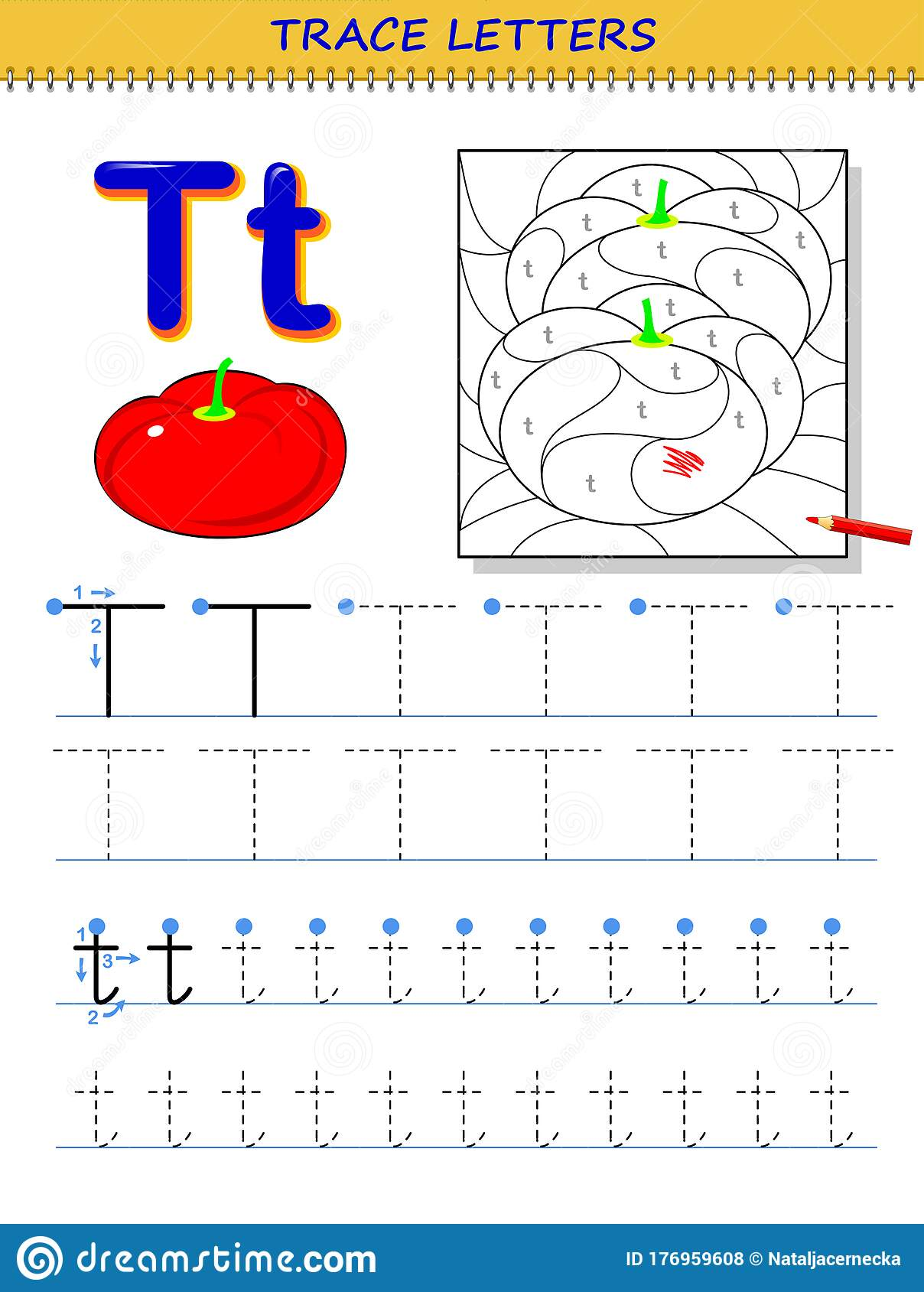 Tracing Letter T For Study Alphabet Printable Worksheet
