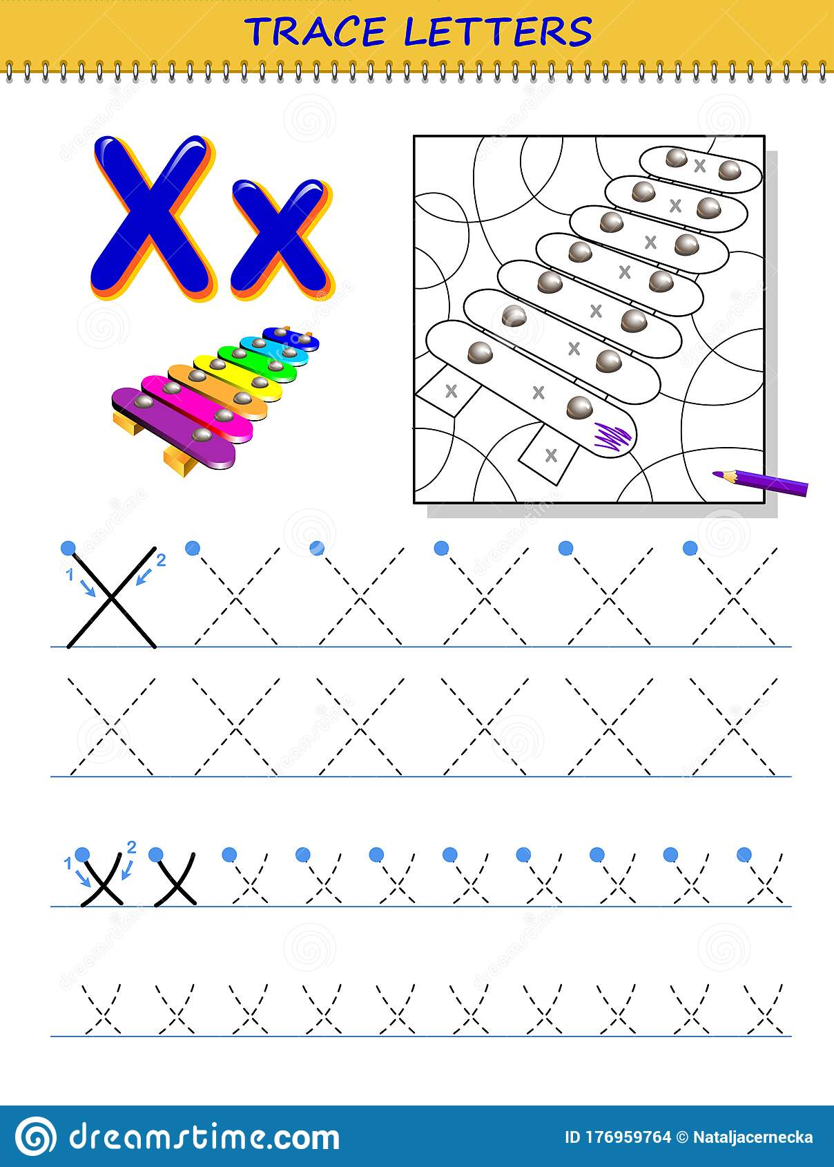 Tracing Letter X For Study Alphabet Printable Worksheet