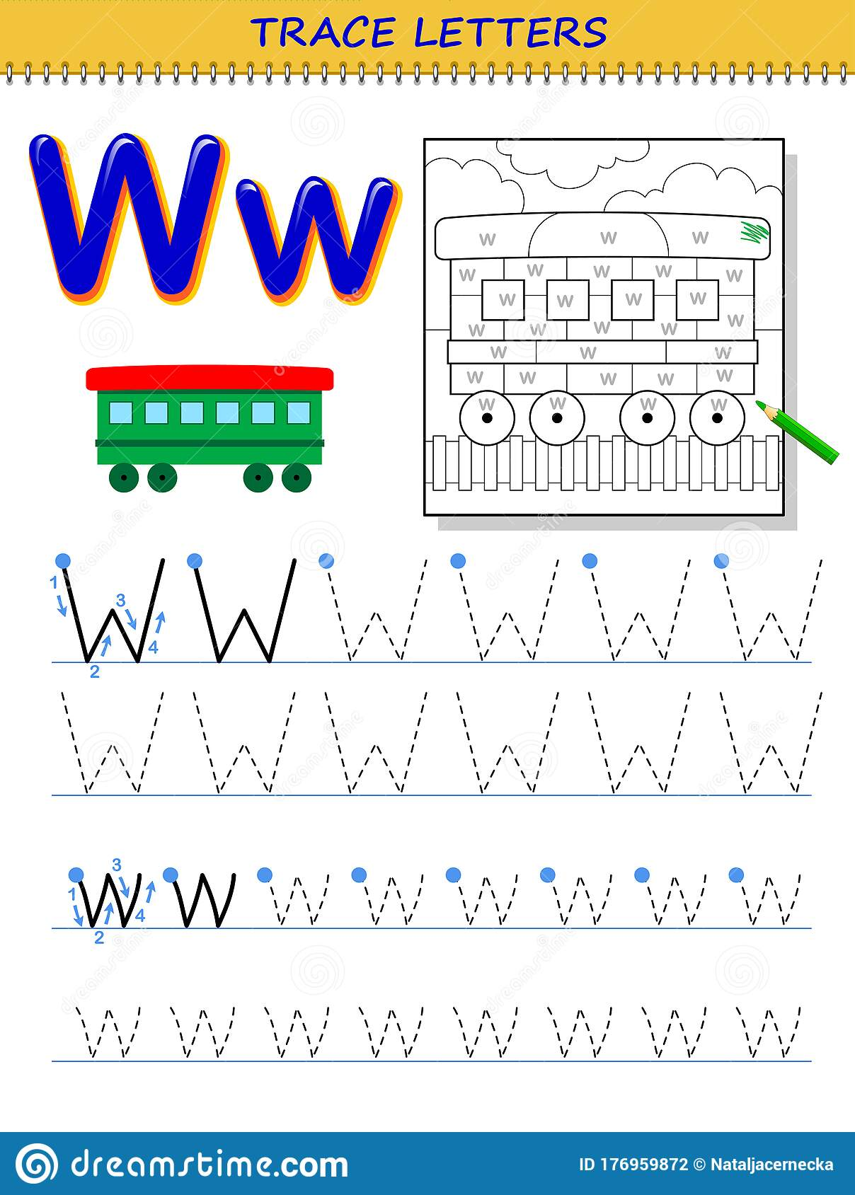 Tracing Letter W For Study Alphabet Printable Worksheet