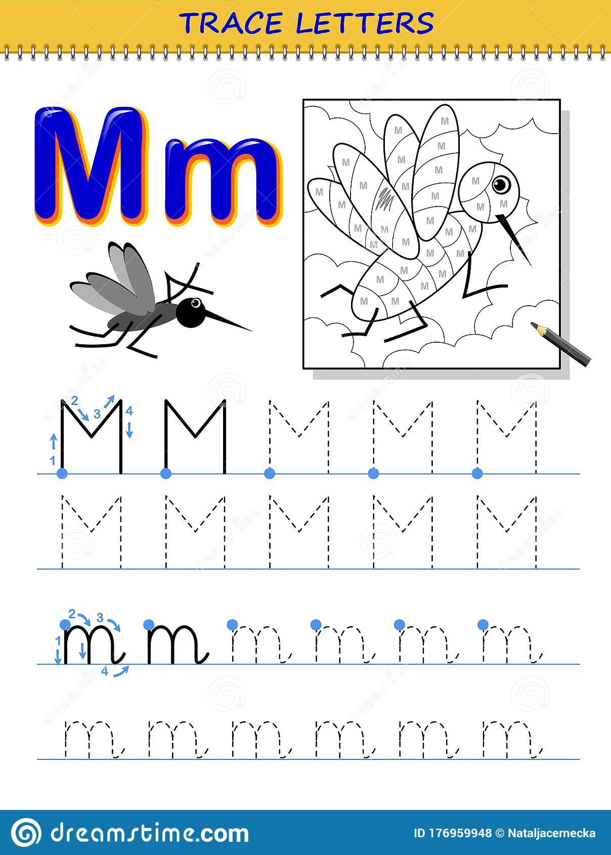 Tracing Letter M For Study Alphabet Printable Worksheet