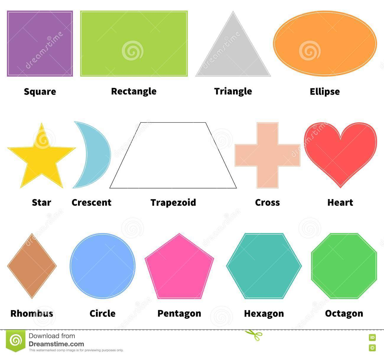 Basic Shapes For Kids Learn 2d Shapes Isolated White
