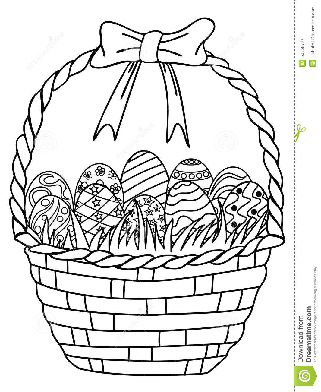 Basket Of Easter Eggs Outline Coloring Page Stock Vector