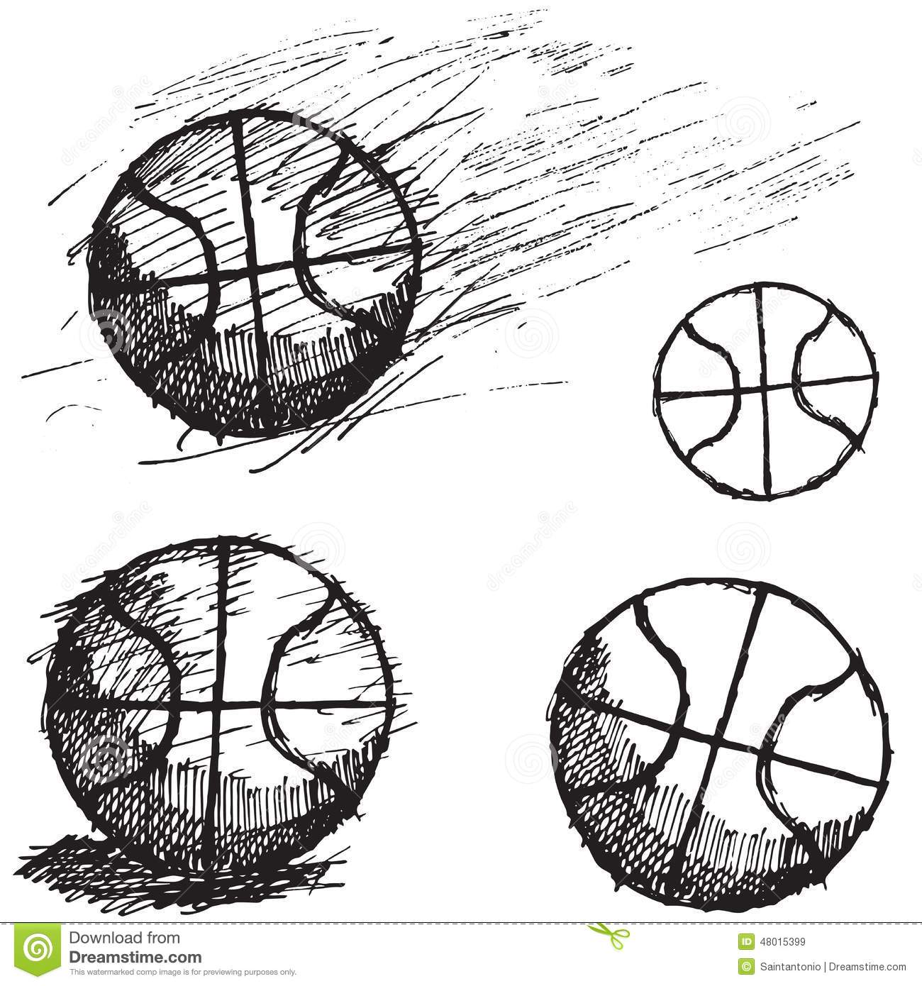 Basketball Ball Sketch Set Isolated On White Background Stock Vector