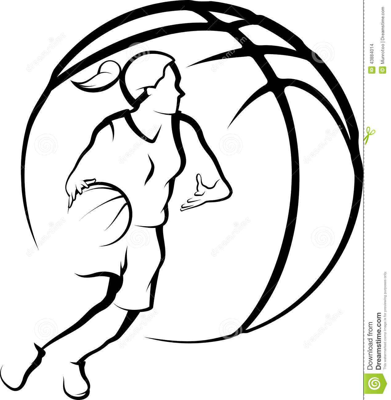 Basketball Female Drivingto Basket With Stylized Ball Stock Photo