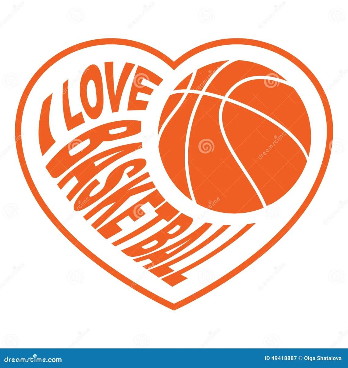Download Basketball in heart 4 stock vector. Illustration of white ...