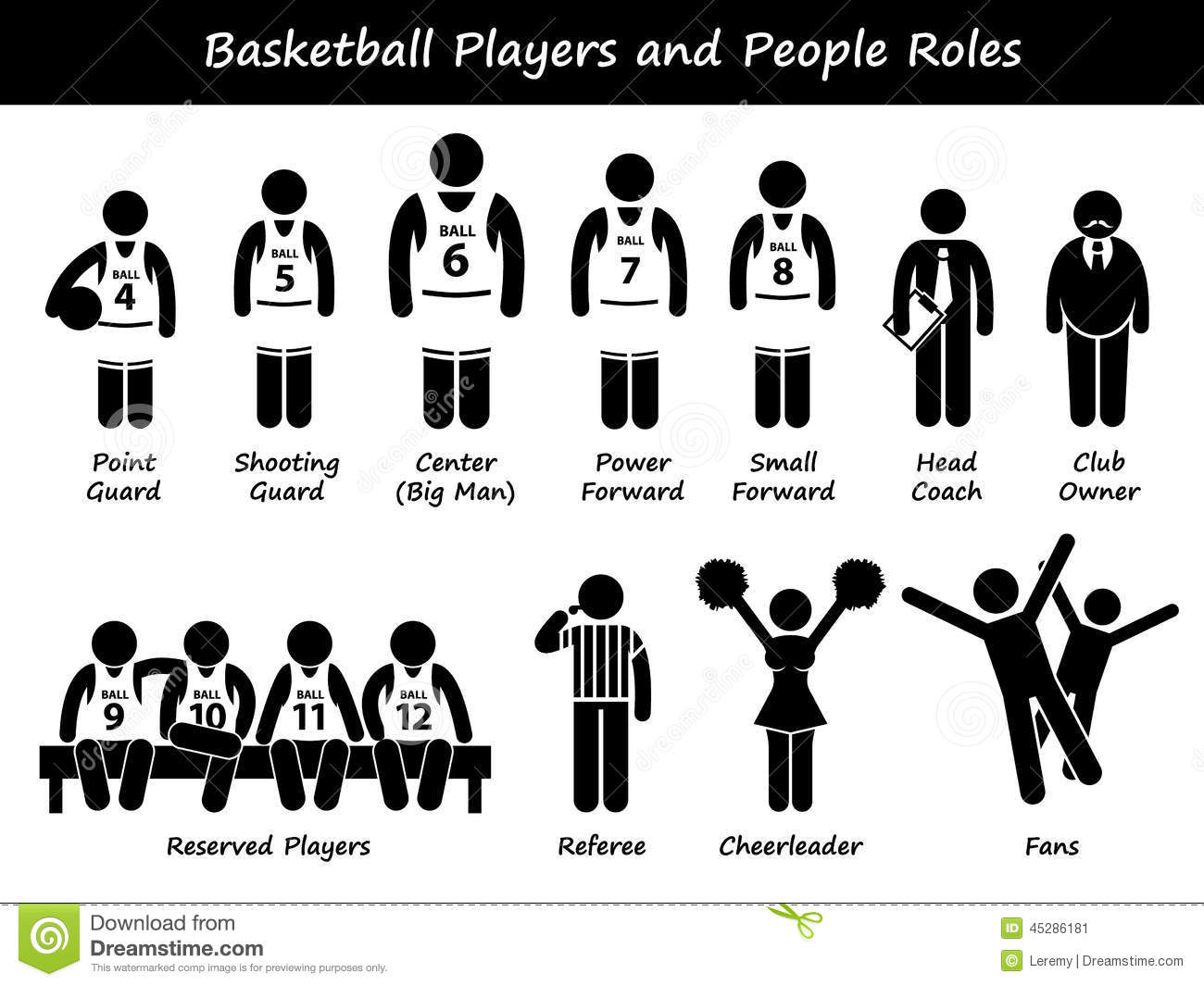 Basketball Players Team Cliparts Icons Stock Vector