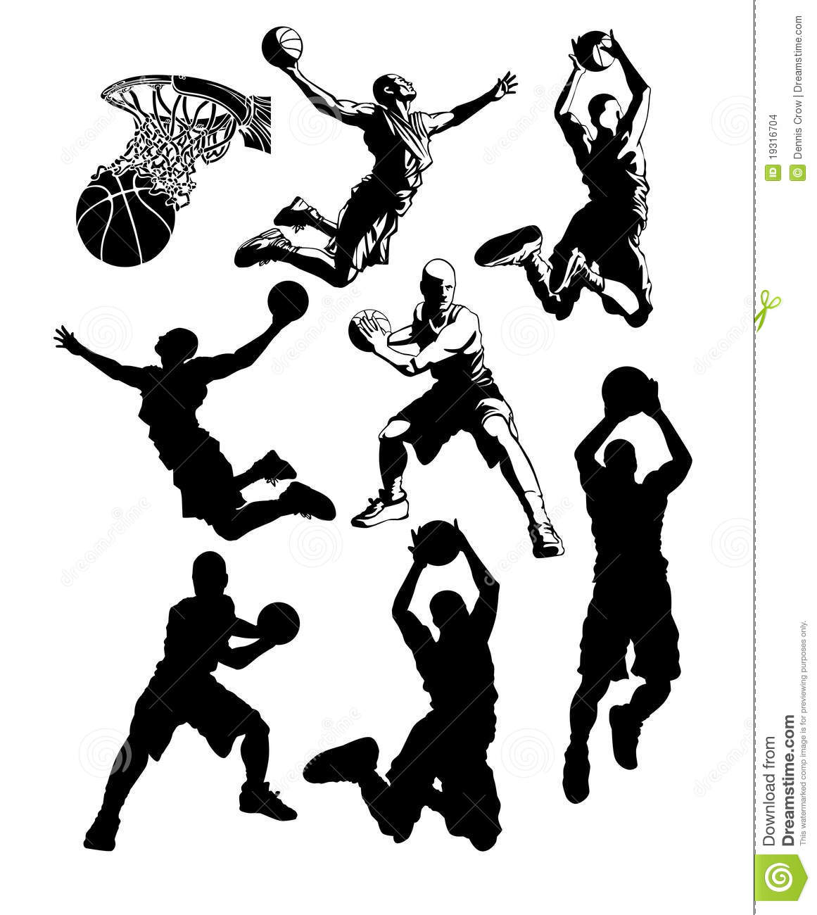 Basketball Silhouettes Male Stock Vector