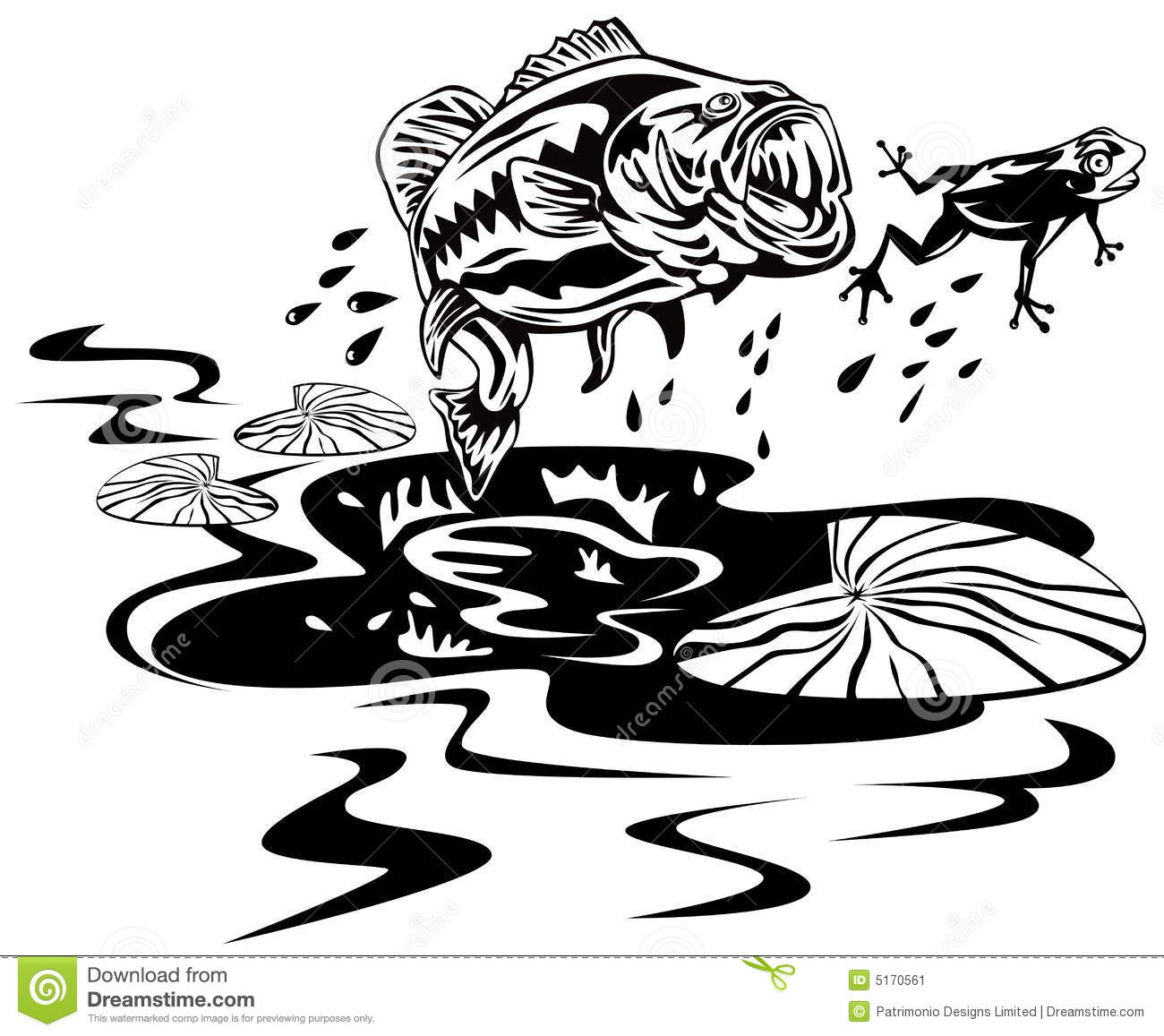Bass Catching A Frog Stock Vector Illustration Of Angling