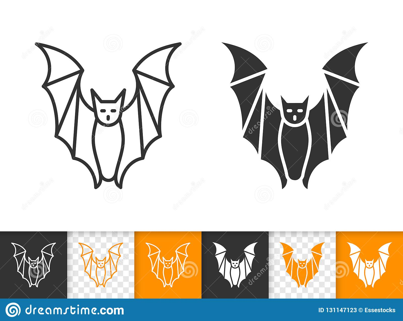 Bat Halloween Simple Black Line Vector Icon Stock Vector