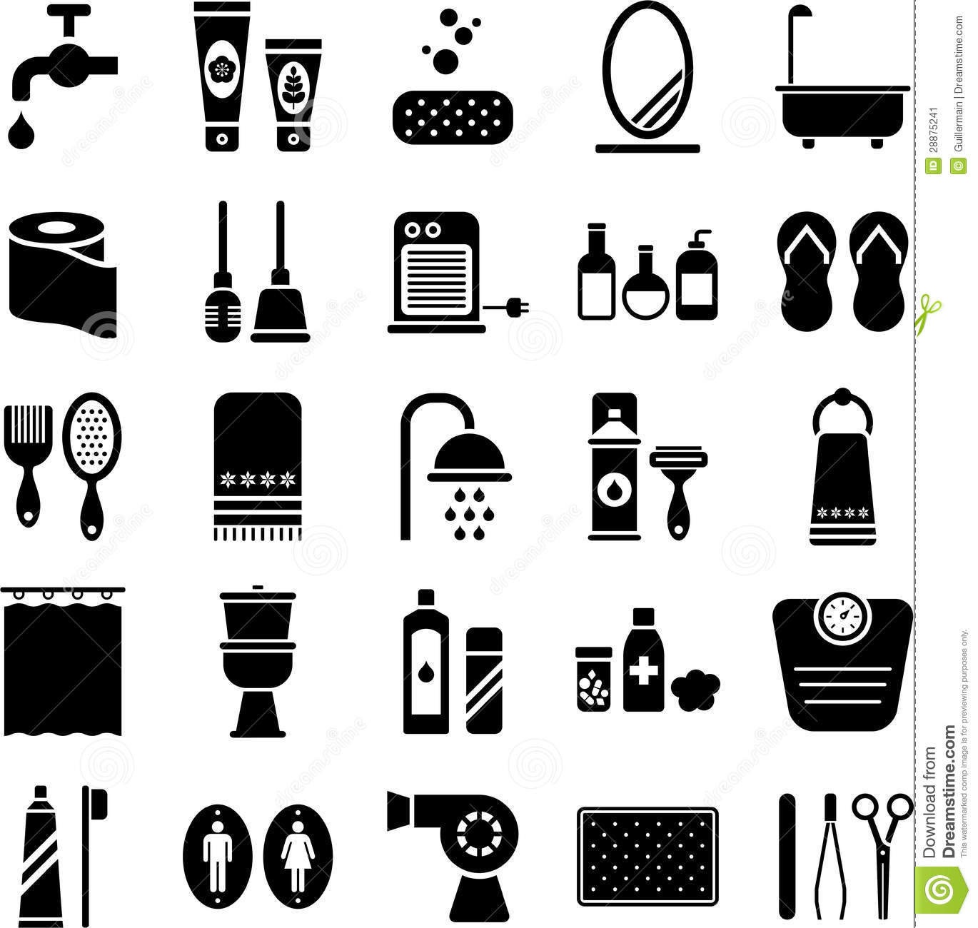 Bathroom Icons Stock Vector Illustration Of Faucet