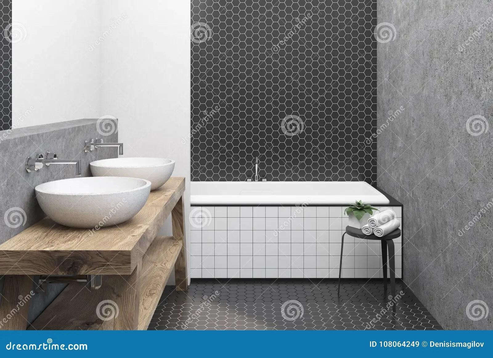 https www dreamstime com bathroom interior black hexagon tile concrete walls large angular tub double sink wooden shelf d rendering image108064249