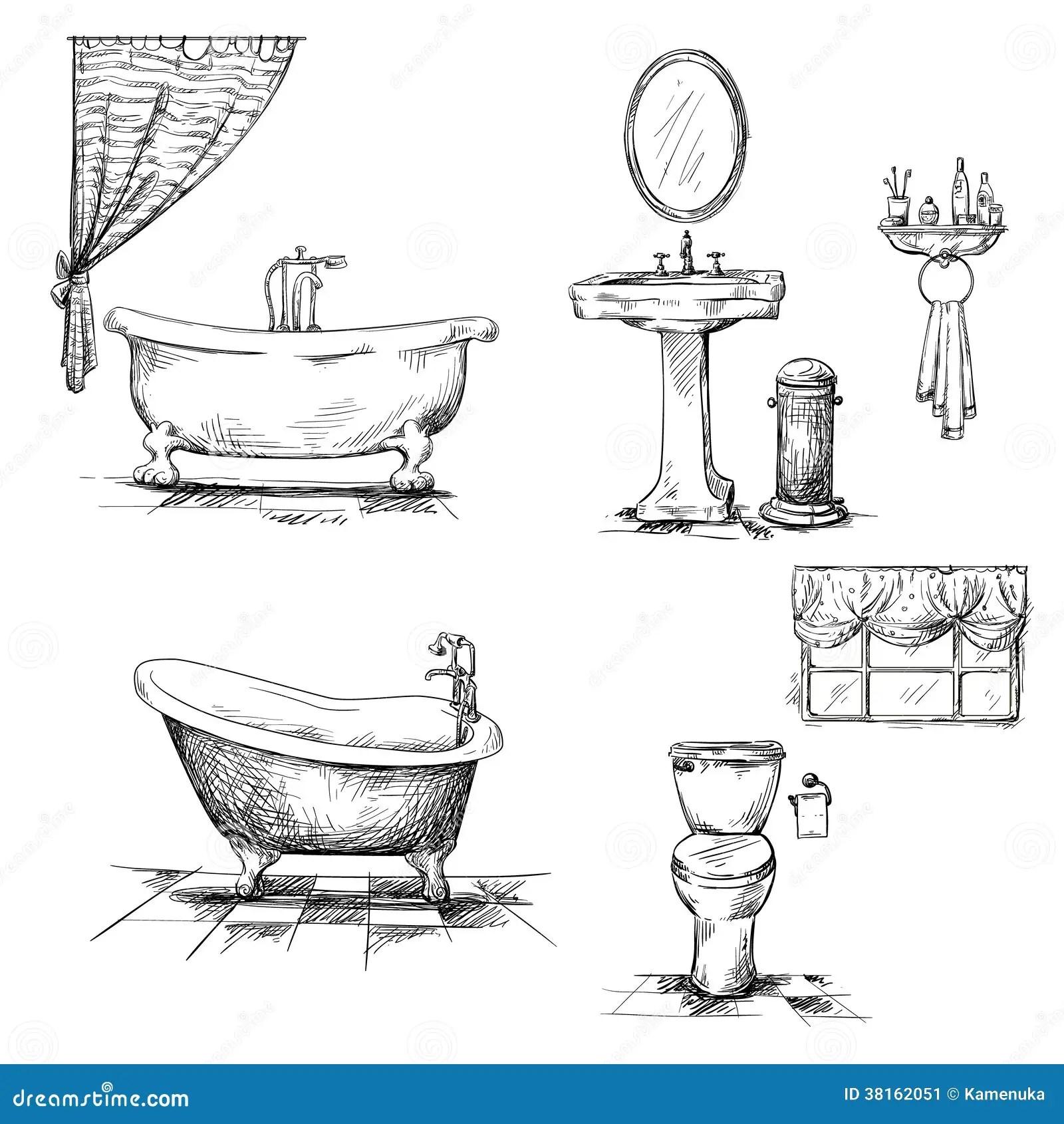 Bathroom Interior Elements Hand Drawn Bathtub T Stock Image