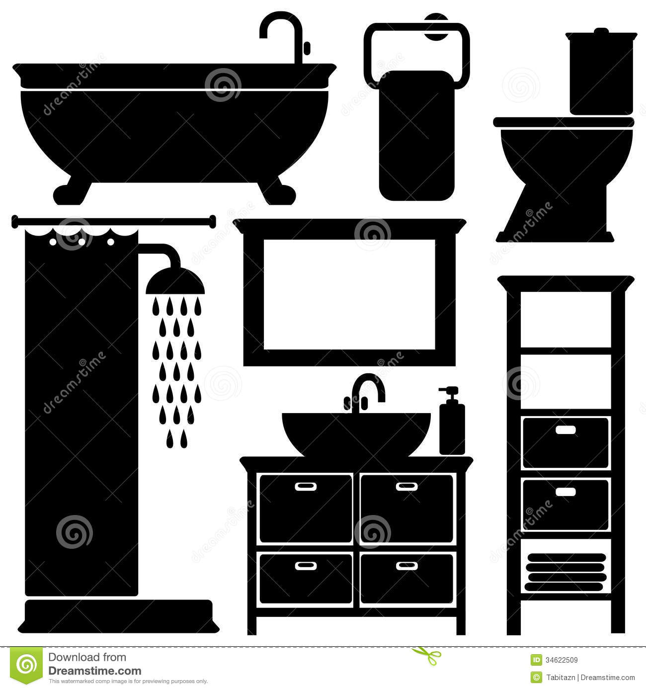 Bathroom Toilet Black Icons Set Silhouettes On Wh Stock Vector Image 34622509