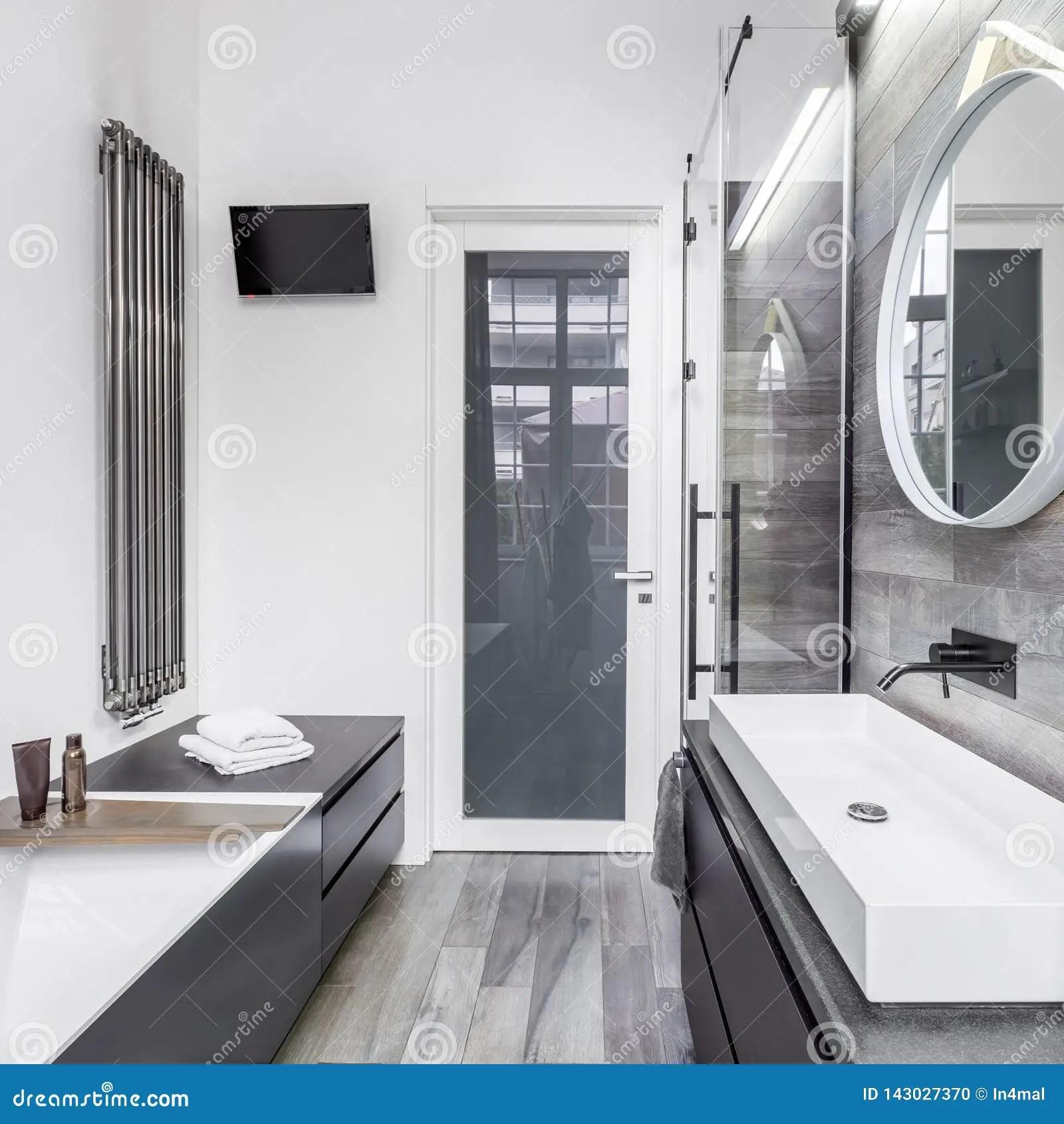 https www dreamstime com bathroom wood effect tiles white wall image143027370
