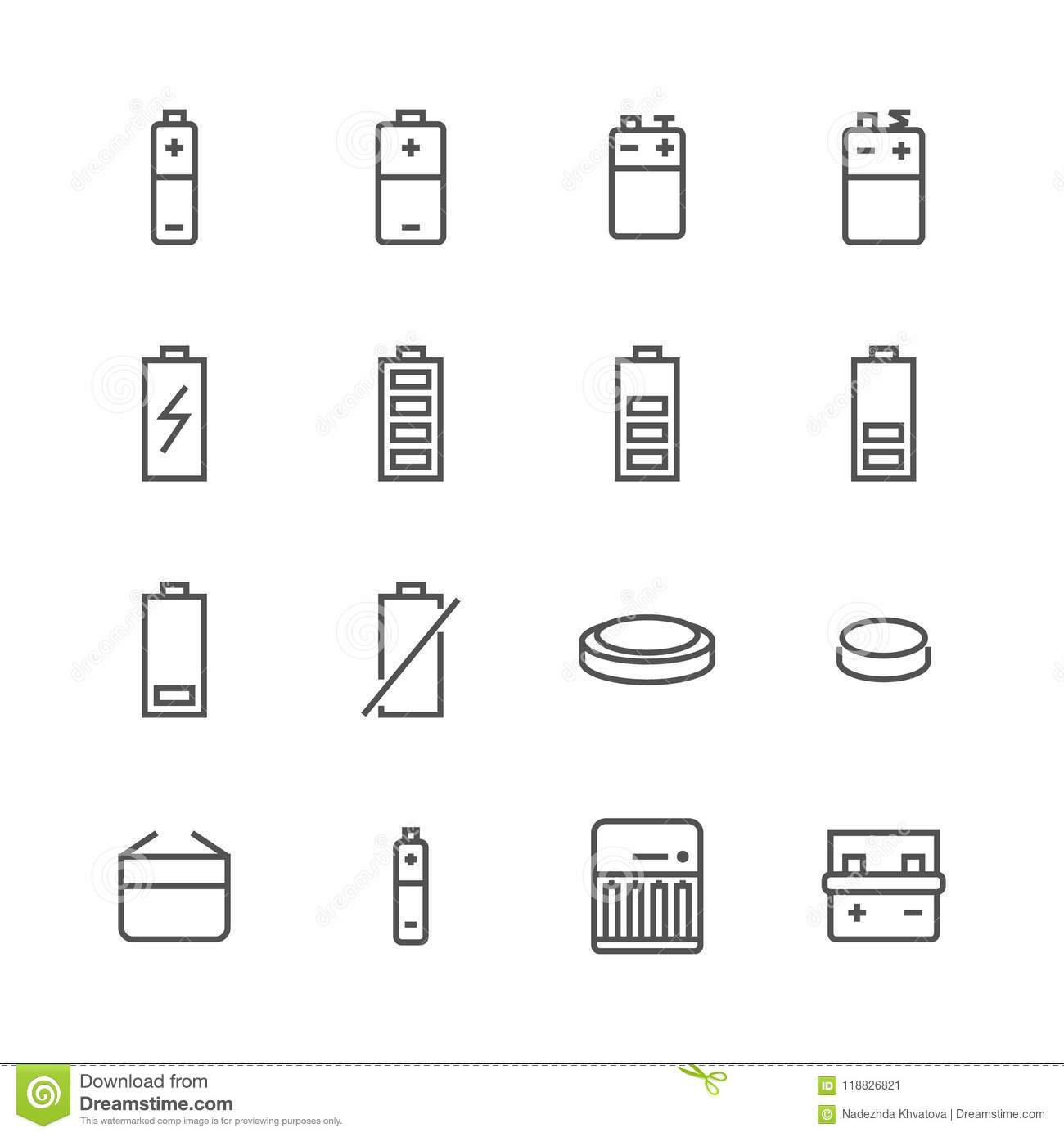 Battery Flat Line Icons Batteries Varieties Illustrations