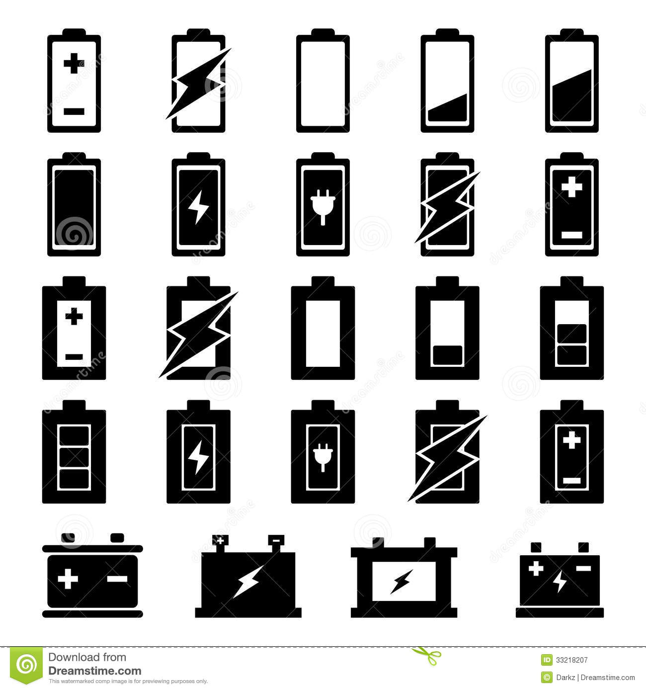 Battery Icon Set Royalty Free Stock Photography