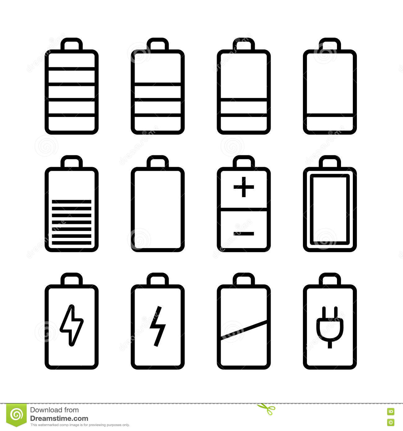 Battery Icons Set In Ios7 Style Stock Vector