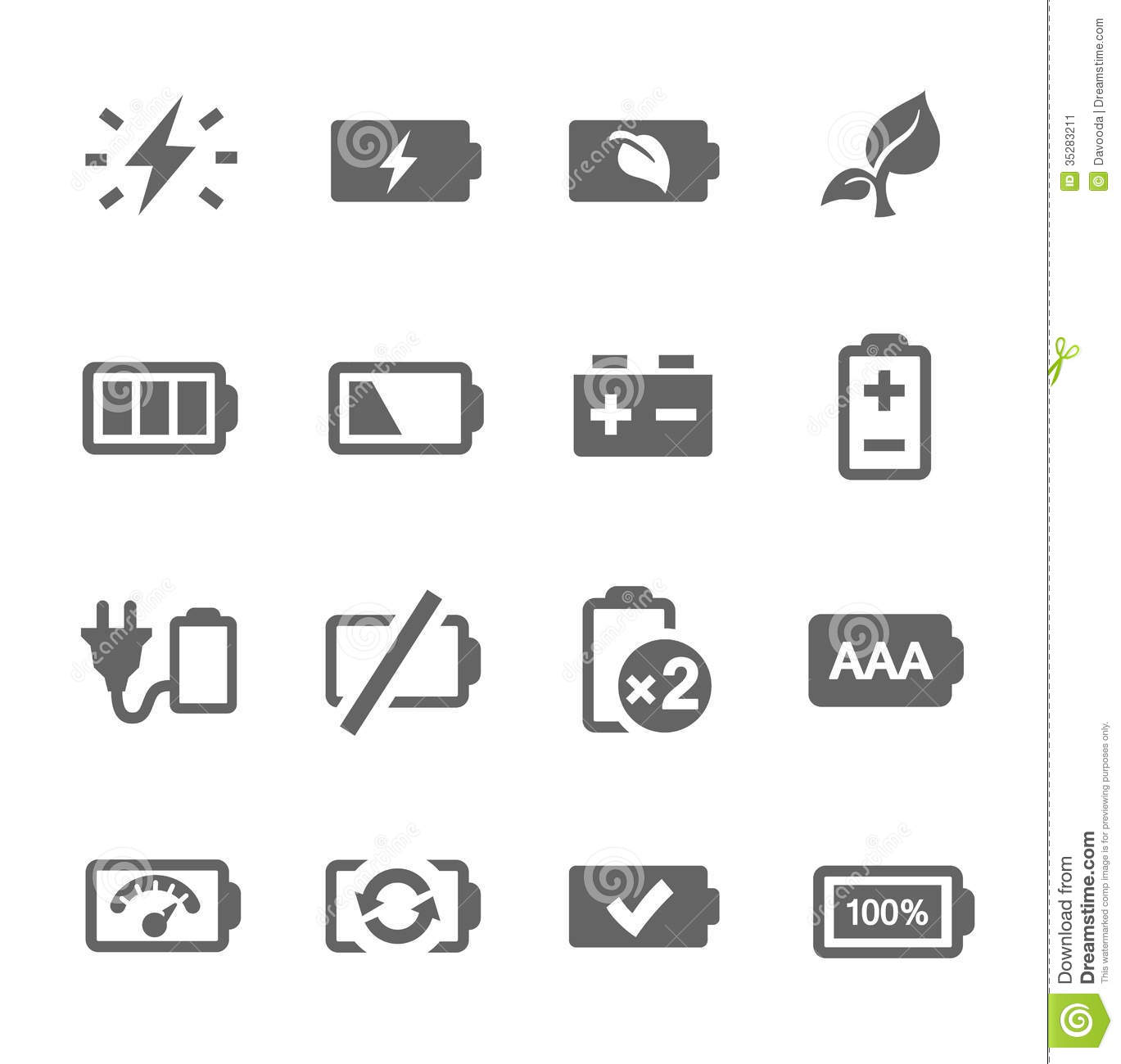 Battery Icons Stock Vector Image Of Lightning Painted