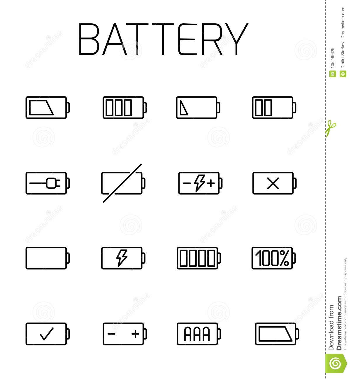 Battery Related Vector Icon Set Stock Vector