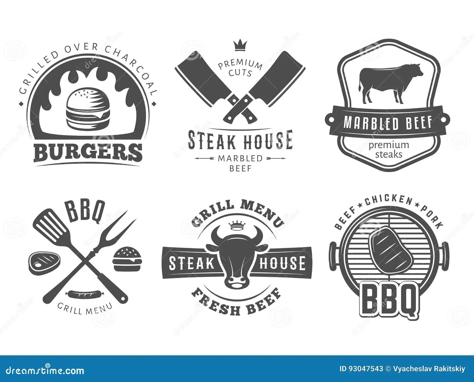 Bbq Burger Grill Badges Stock Vector Illustration Of