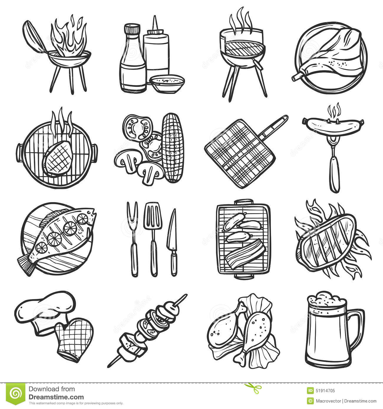 Bbq Grill Icons Set Stock Vector Illustration Of Ketchup