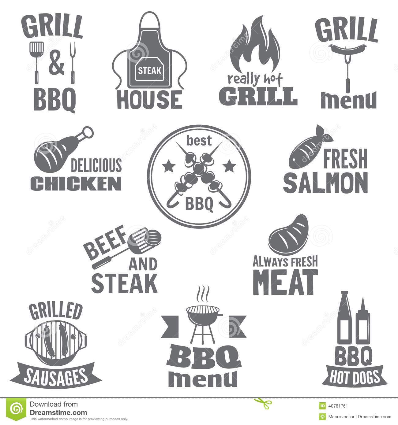 Bbq Grill Label Stock Vector
