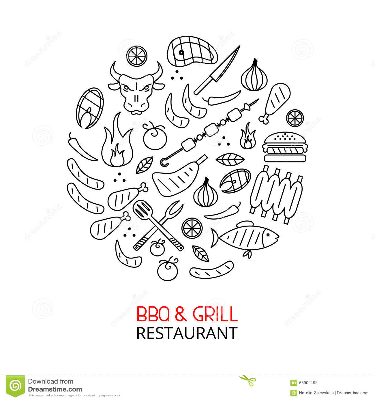 Bbq And Grill Line Art Circle Stock Vector