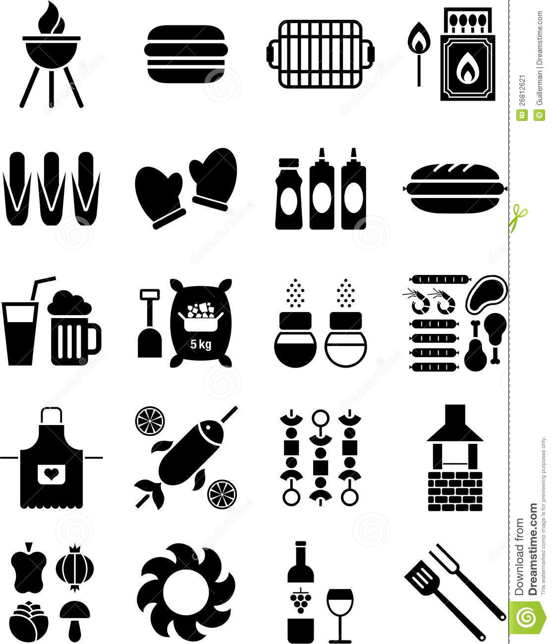 Bbq Icons Stock Vector Image Of Meat Gloves Mayonnaise