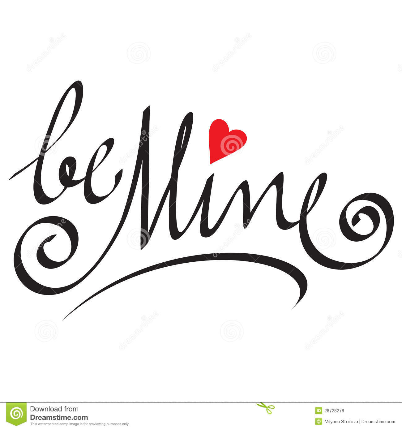 Be Mine Hand Lettering Stock Vector Illustration Of