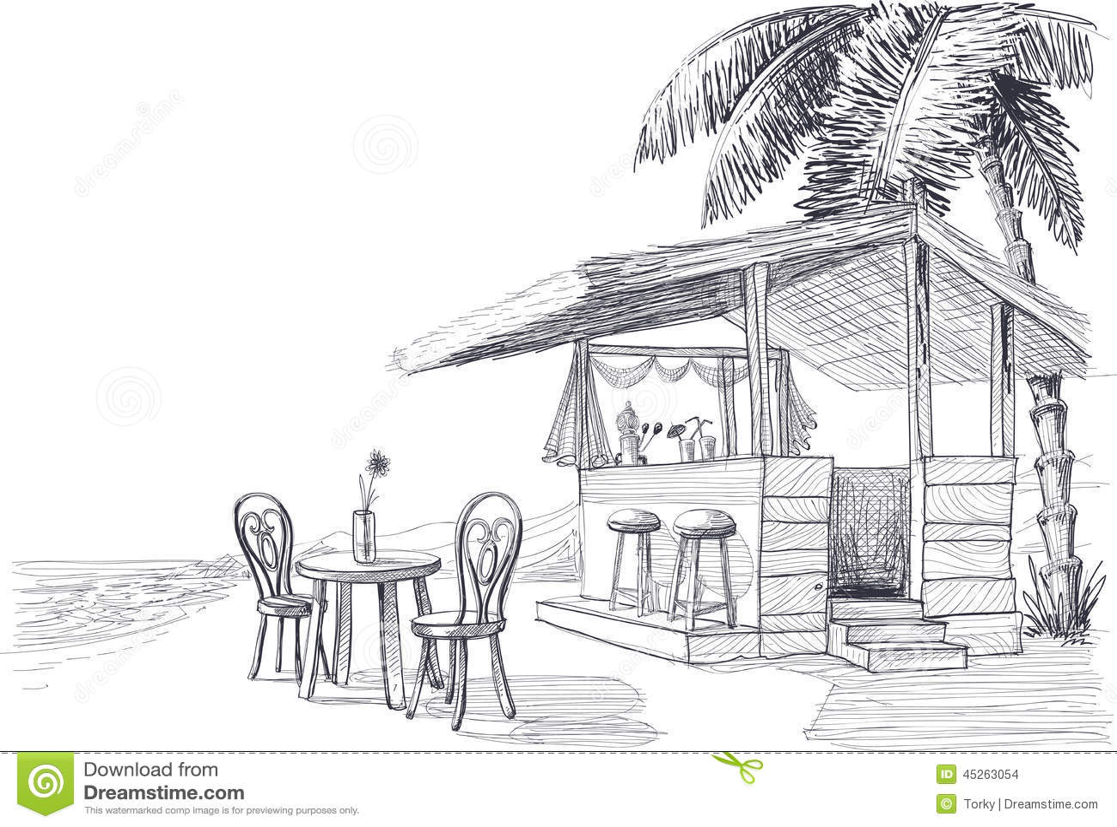 Beach Bar Sketch Stock Vector Illustration Of Coast