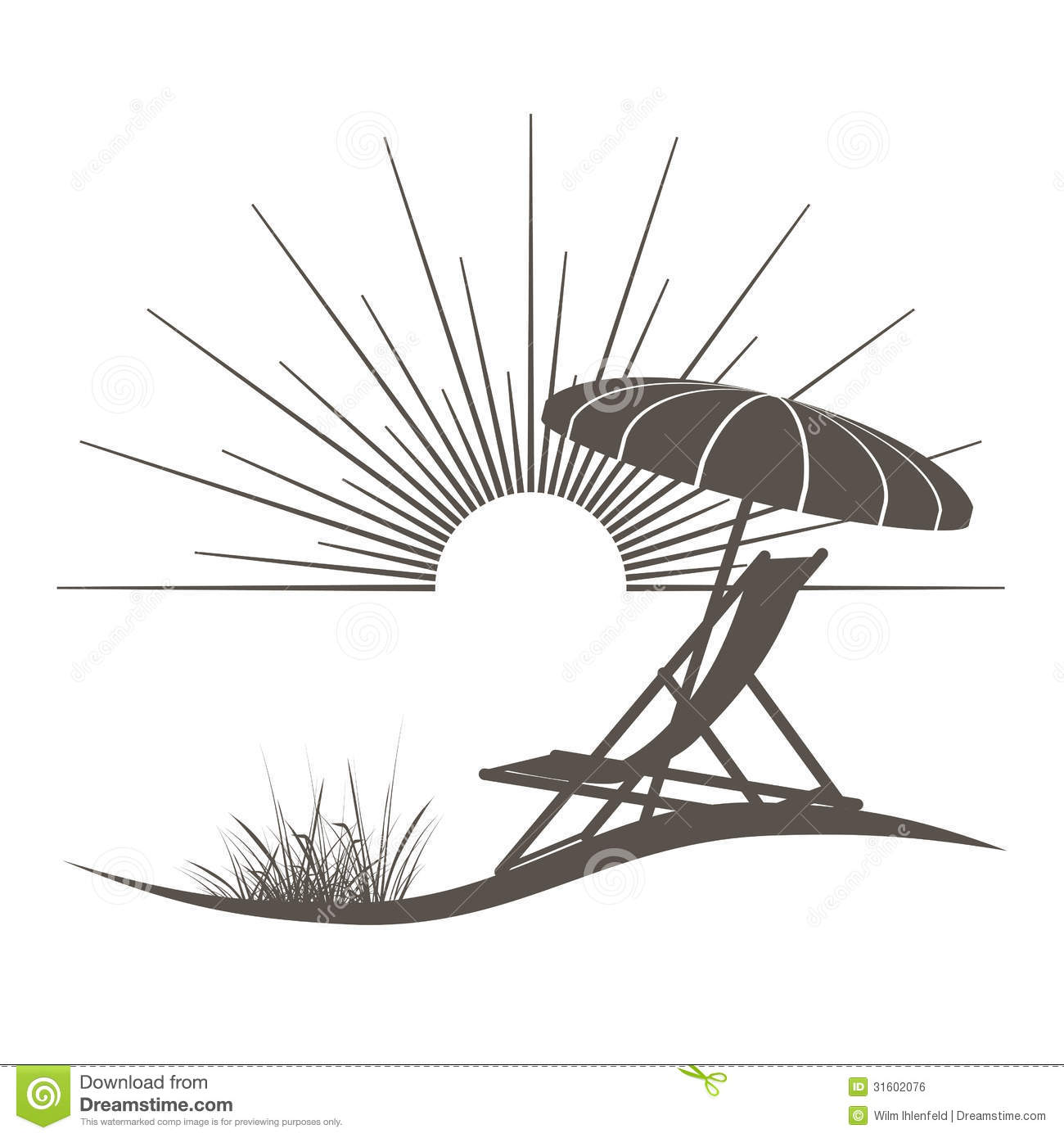 Beach Chair And Sunshade Stock Vector Image Of Icon