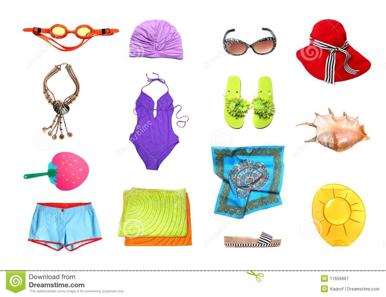 Beach Clothes And Accessories Set Royalty Free Stock