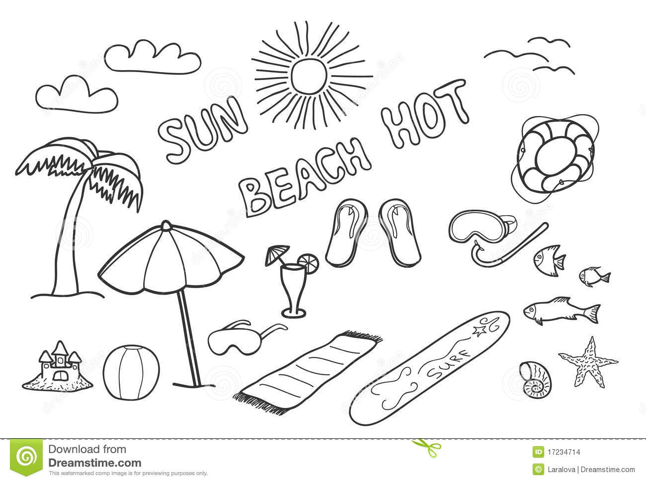 Beach Doodles Stock Vector Illustration Of Mask
