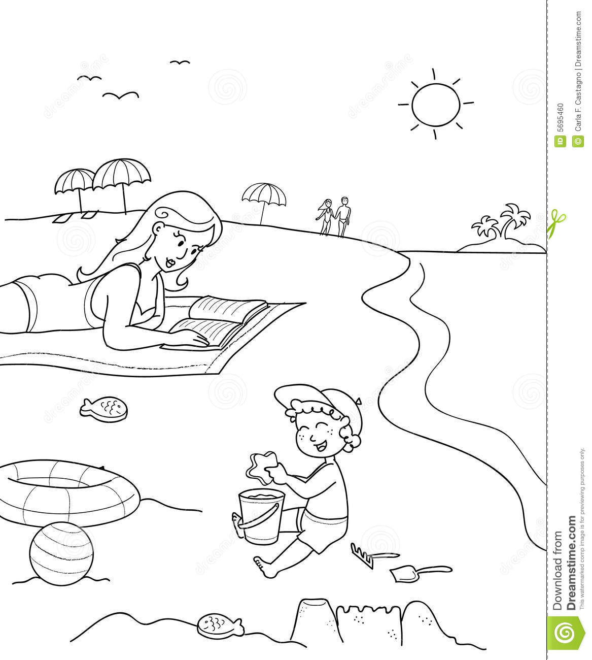 Coloring Mother And Son At The Beach Stock Photo