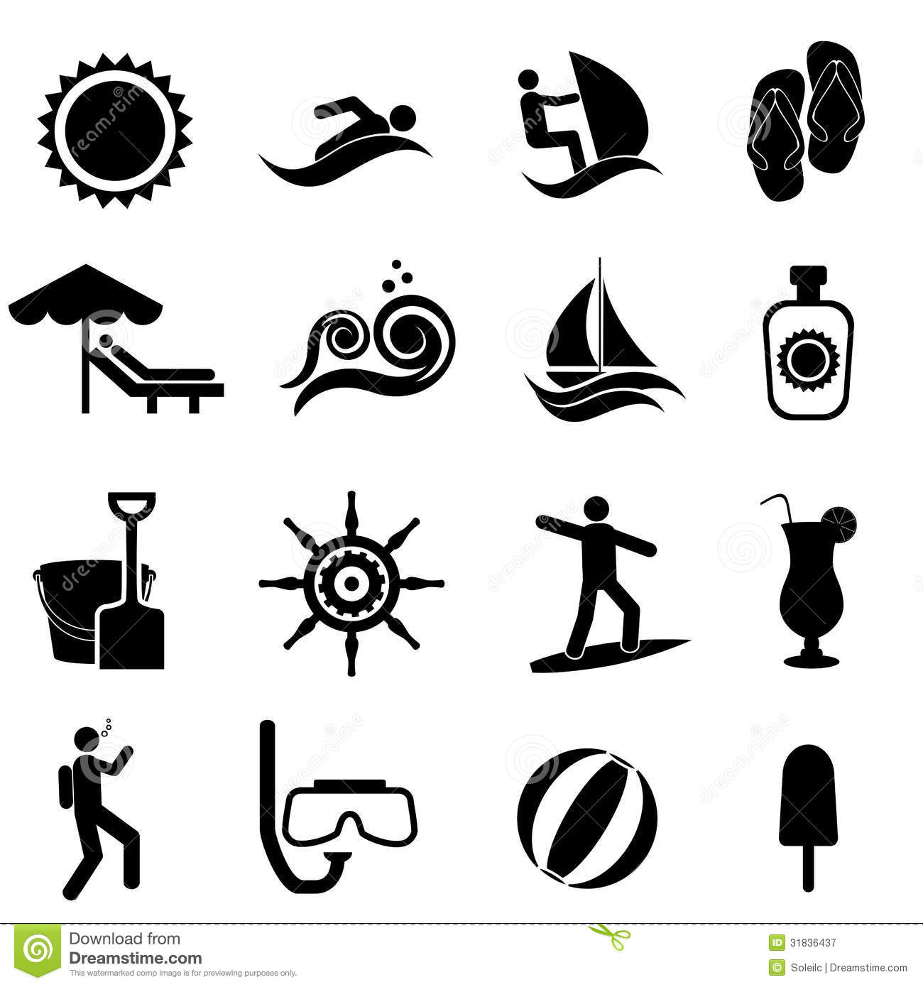 Beach Summer And Nautical Icon Set Royalty Free Stock