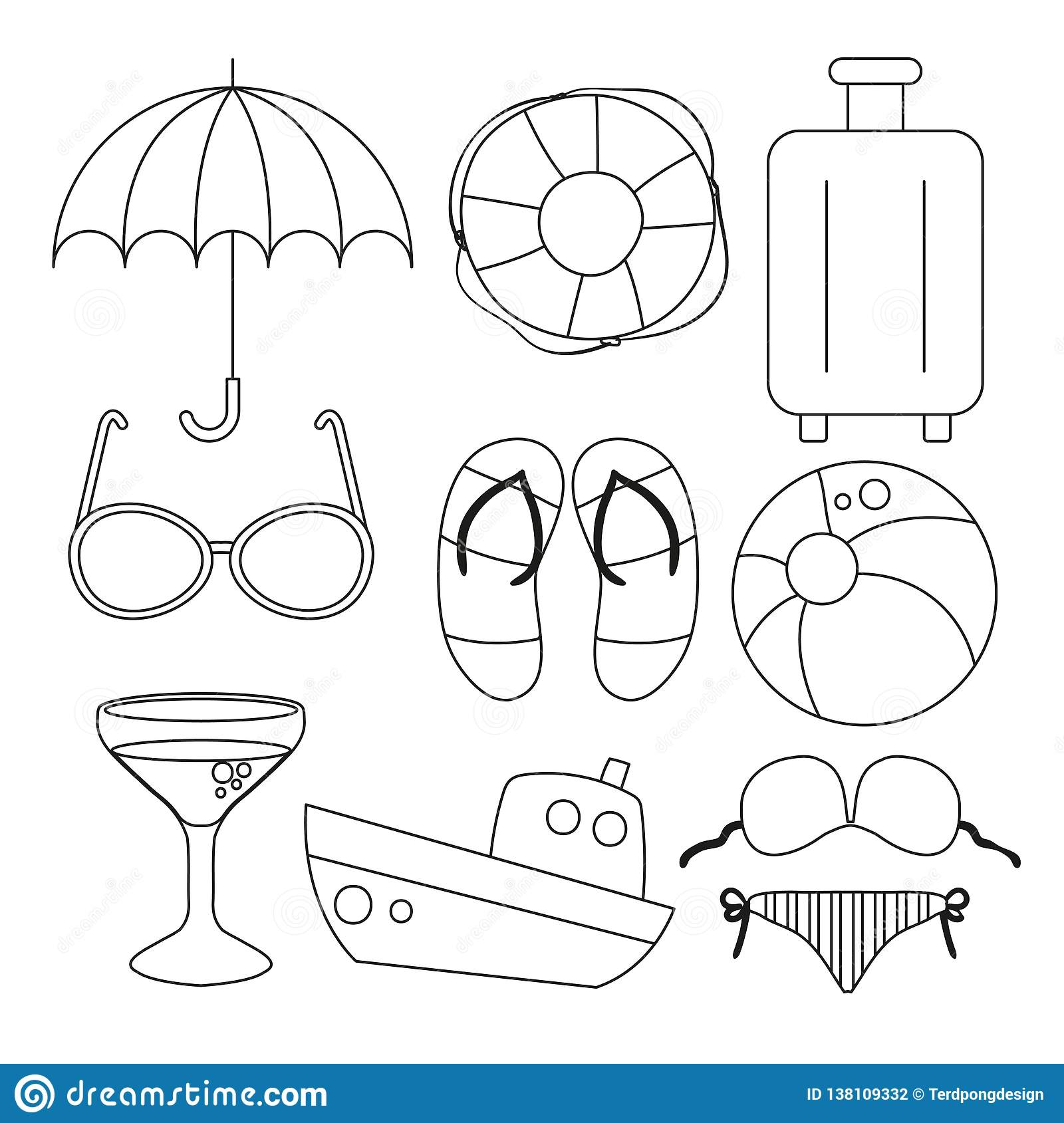 Beach Toy Worksheet Vector Design Stock Illustration