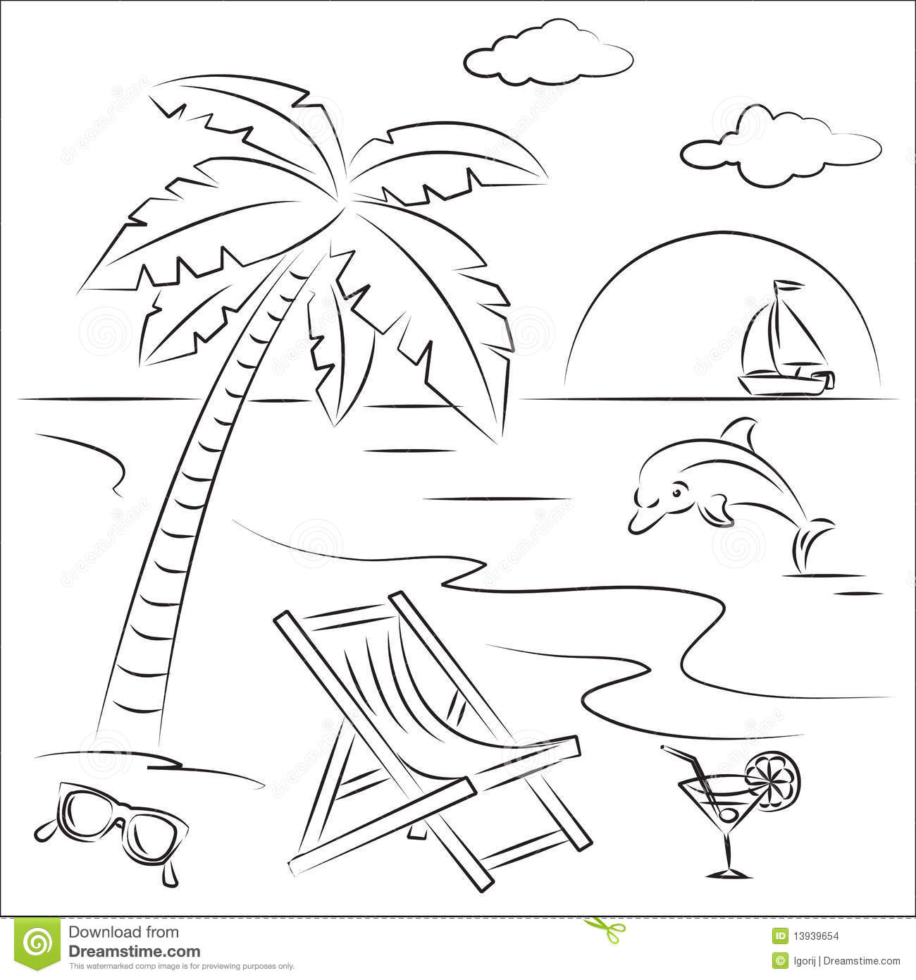 Beach Vacation Stock Vector Illustration Of Tranquil