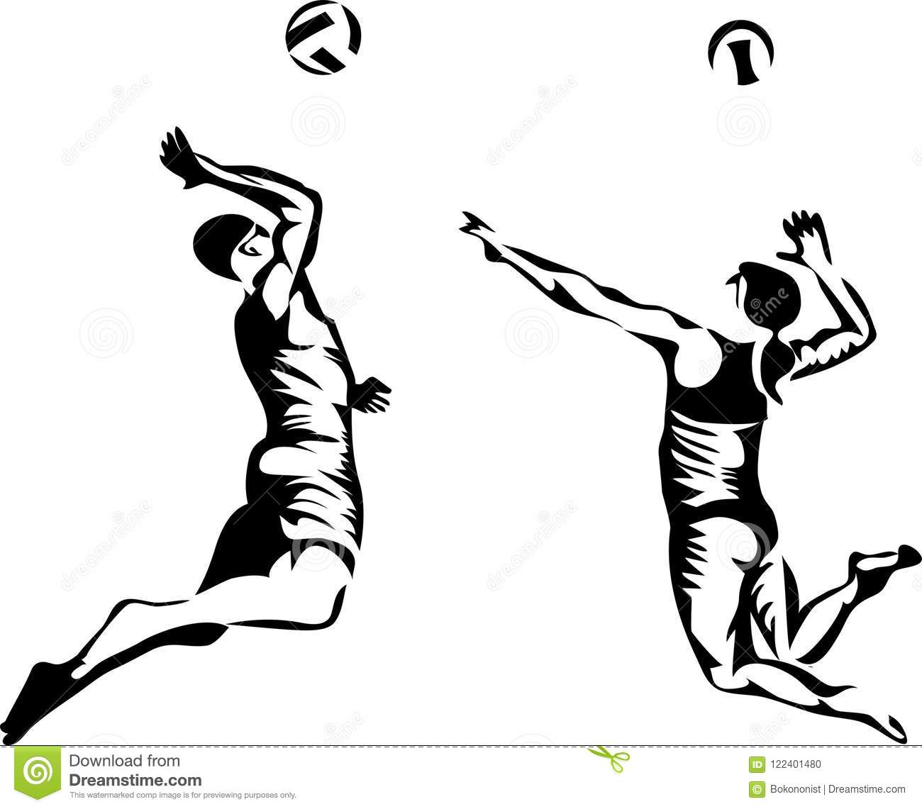 Beach Volleyball Players Stock Vector Illustration Of