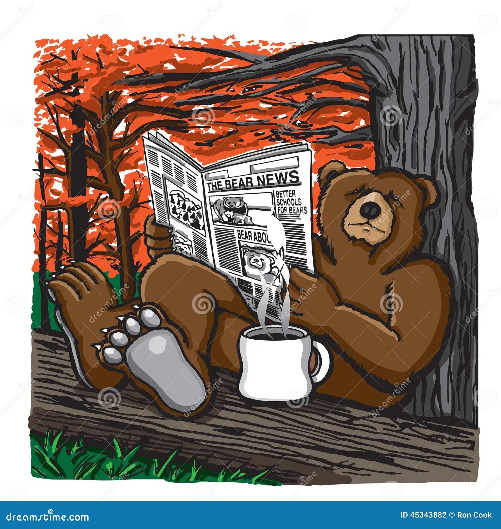 Bear Reading A Newspaper Stock Illustration Illustration
