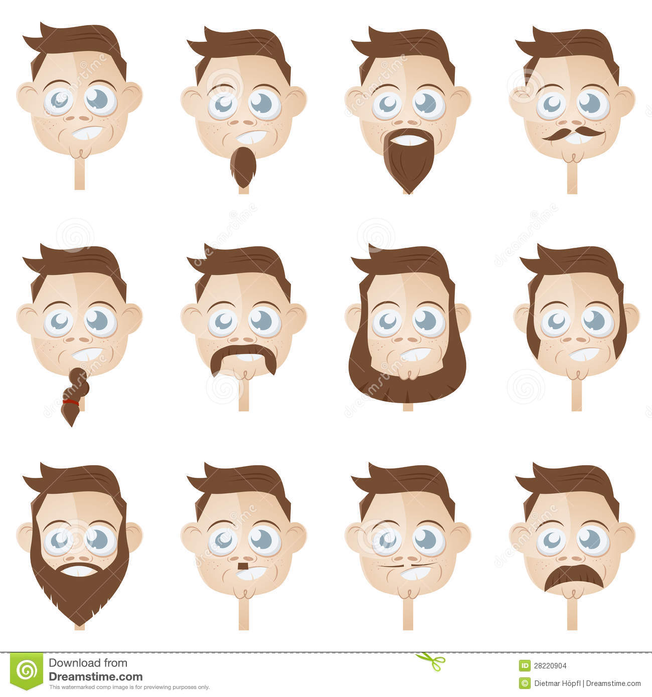 Beard Head Collection Stock Vector Image Of Person Comic