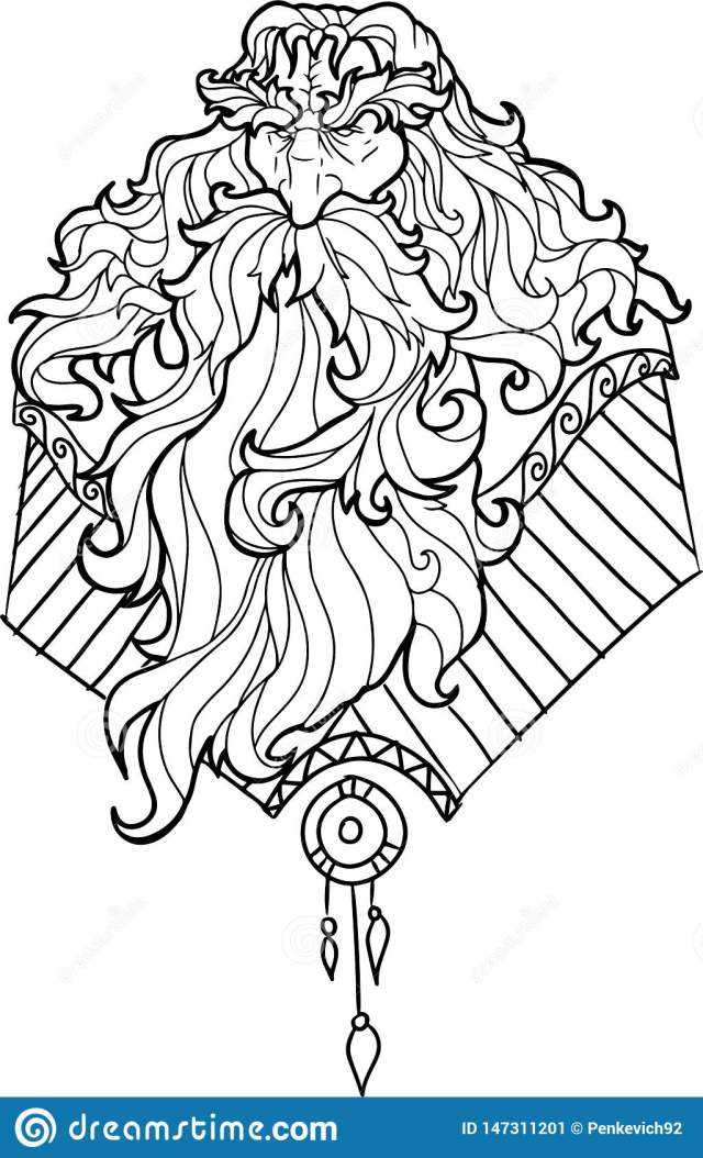 Bearded Man with Mustache for Adult Coloring Pages Stock Vector