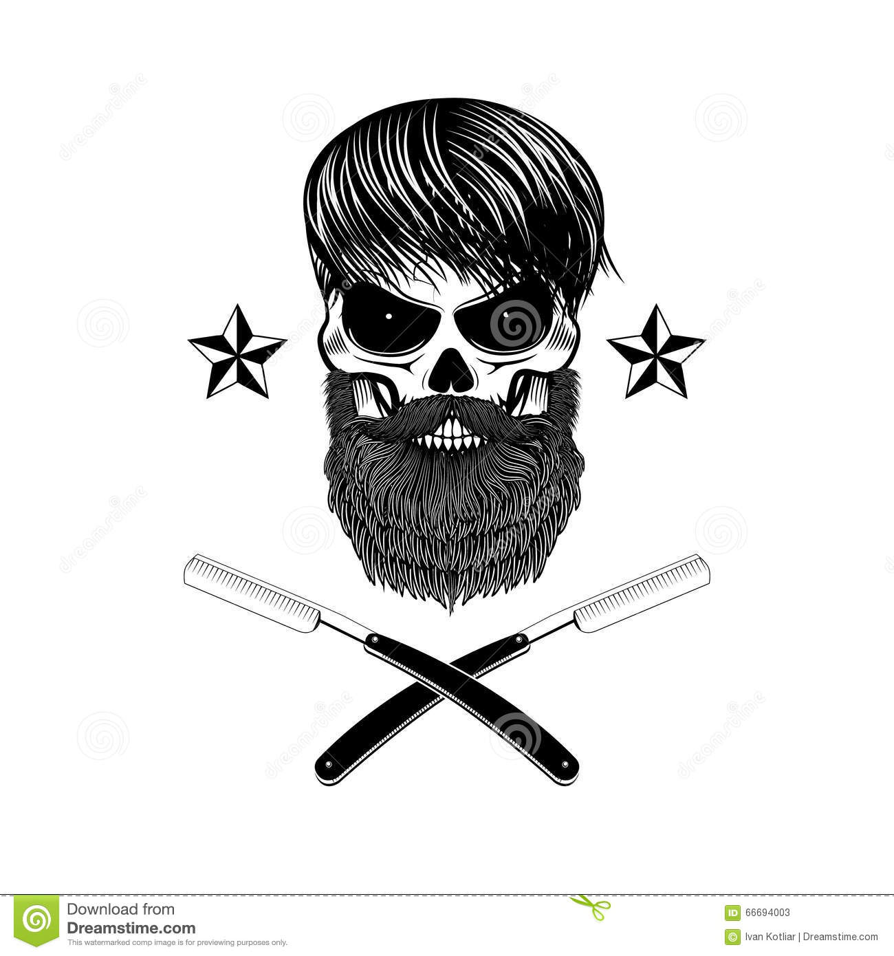 Bearded Skull With Blades Stock Vector Illustration Of