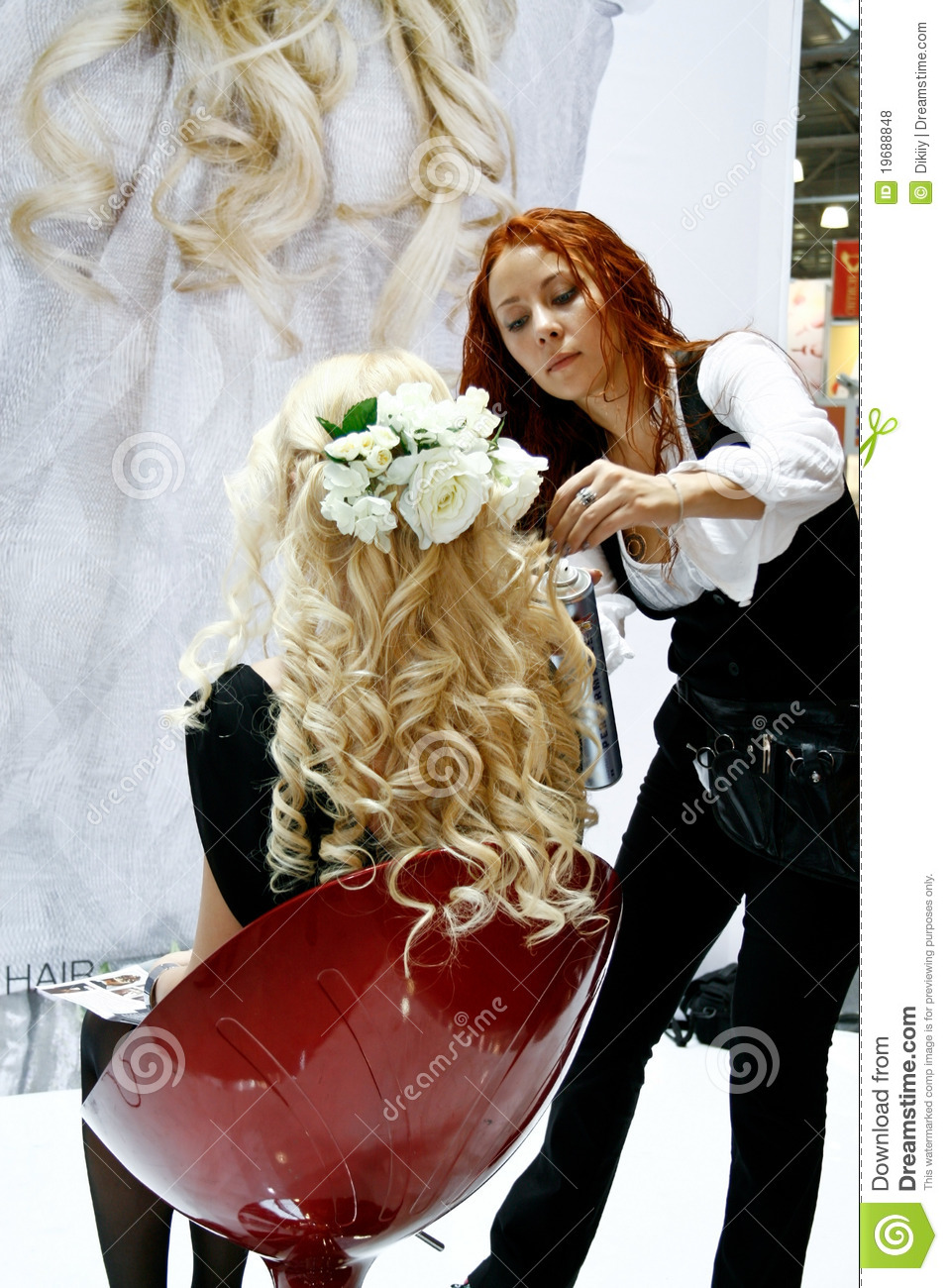 Beauticians Doing Hair Extensions Editorial Stock Photo