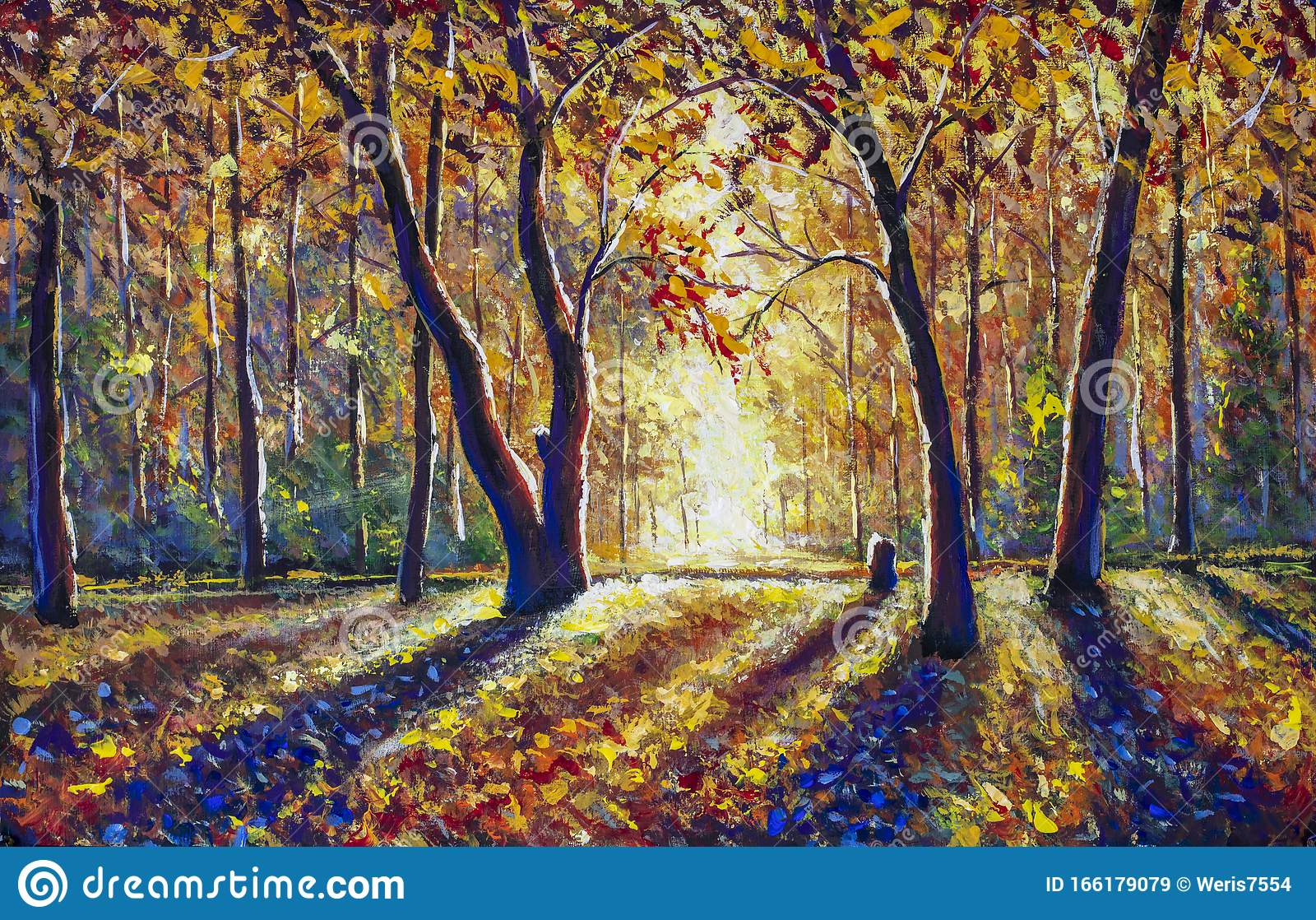 Leaf image brown wooden bridge in forest painting image nature,. Beautiful Autumn Sunny Forest Gold Orange Warm Autumn Landscape Stock Illustration Illustration Of Outdoor Beauty 166179079