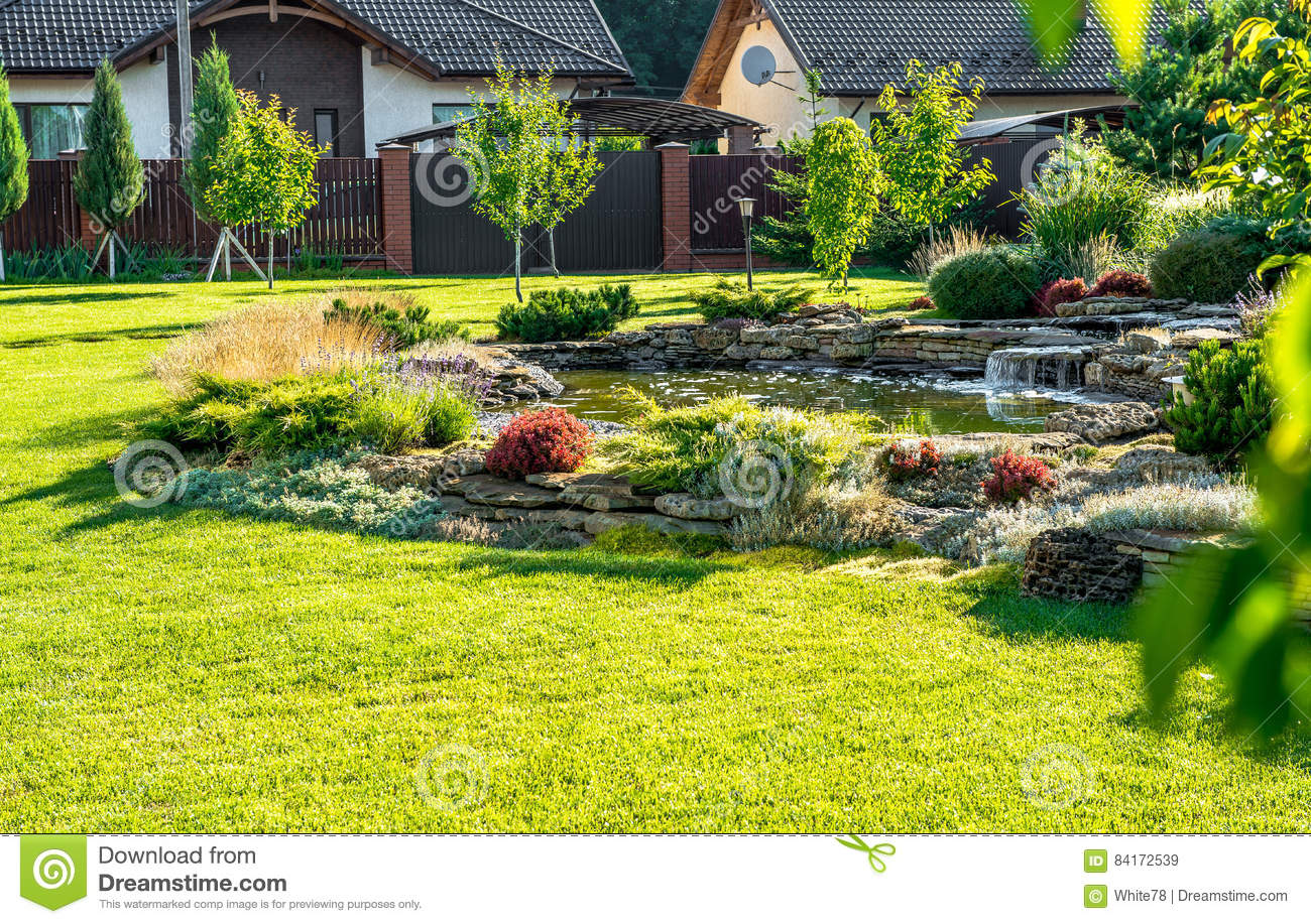Beautiful Backyard Landscape Design. View Of Colorful ... on Backyard Landscaping Ideas With Trees id=33837